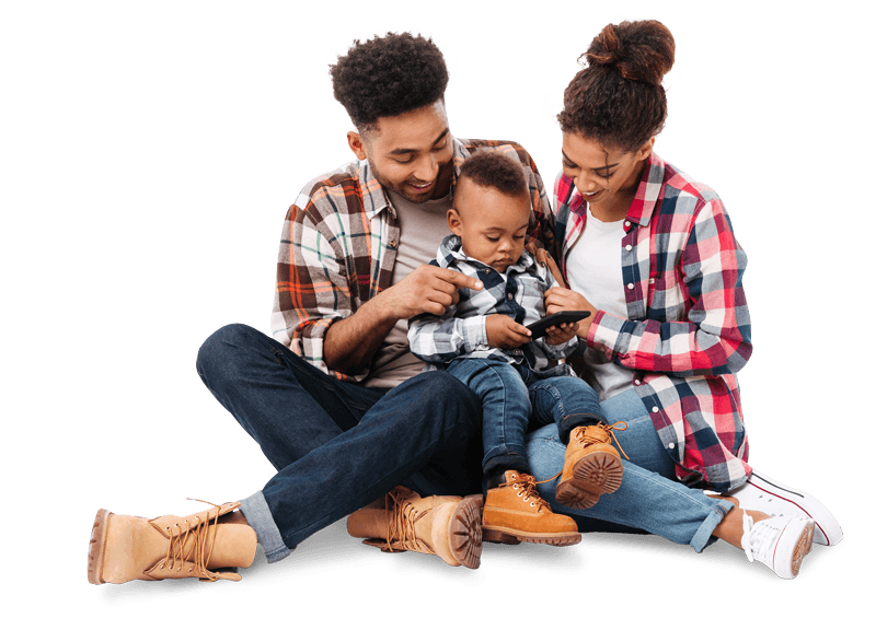 Mum and dad with boy playing on phone
