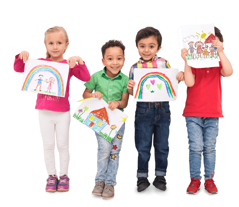 4 children showing off their artwork of rainbows and happiness