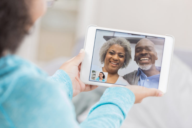 Activity ideas for children - video chatting with grandparents on an ipad