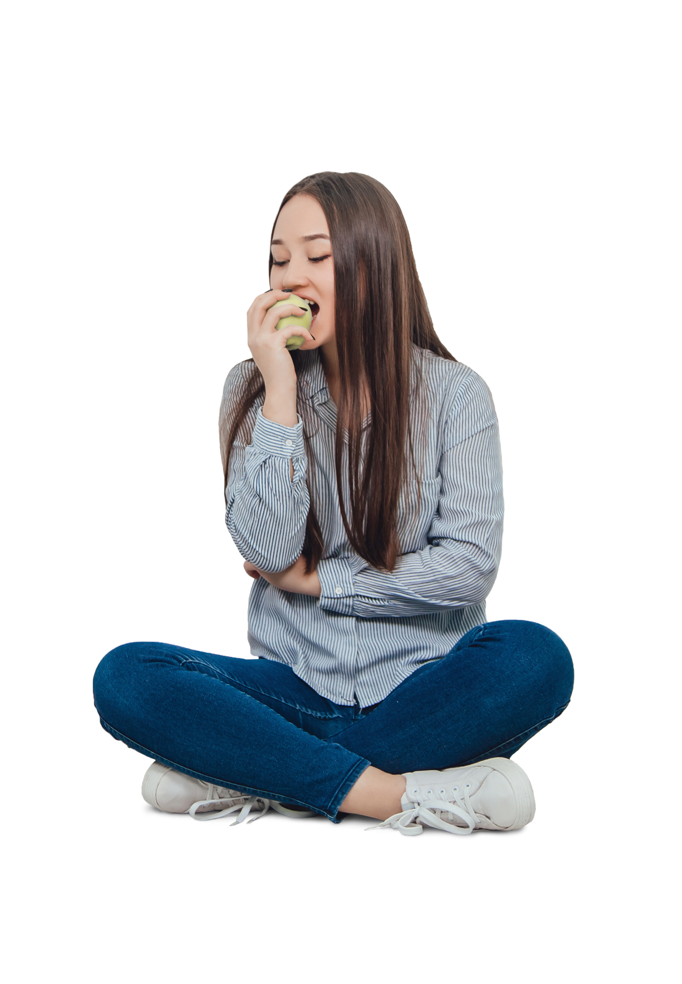 Teenage girl eating an apple