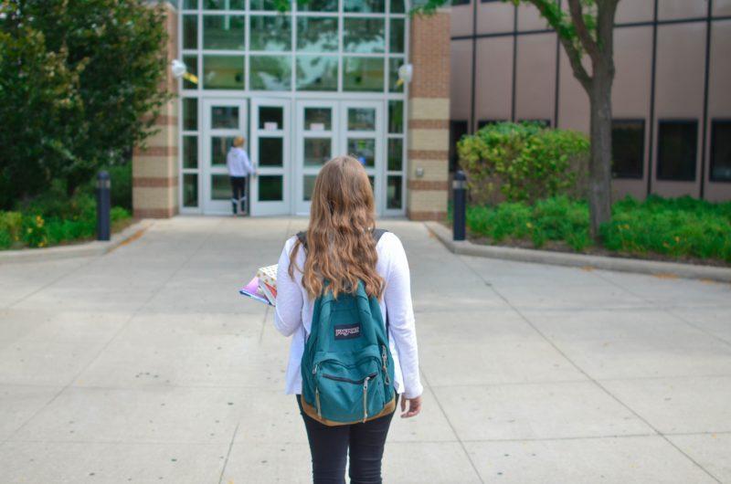 Child entering university building