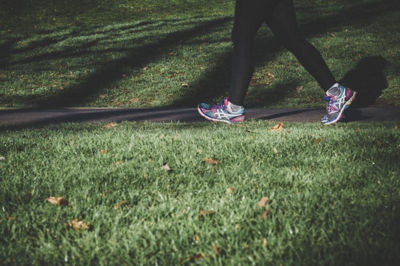 a person running through a park