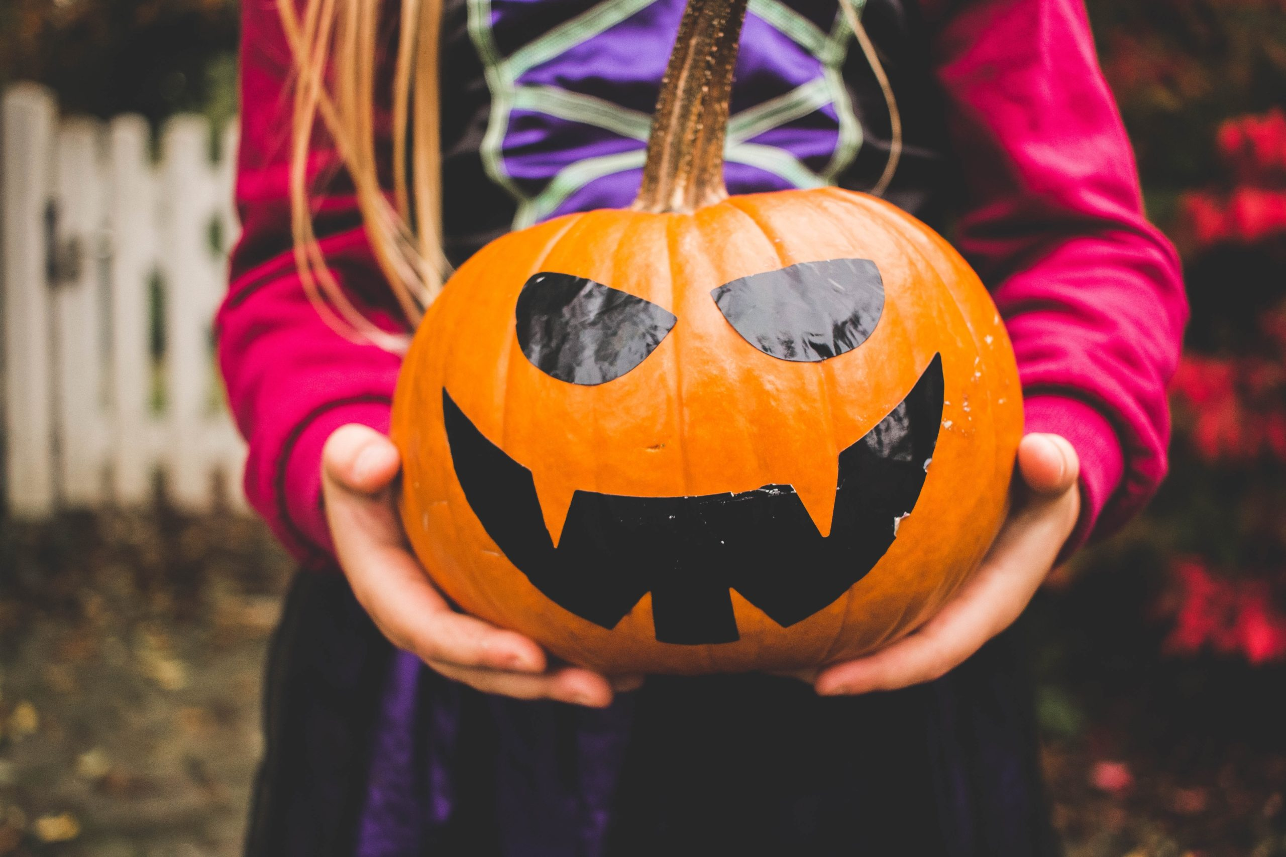 Halloween celebrations: a child dressed up as a witch holds a pumpkin with a scary face