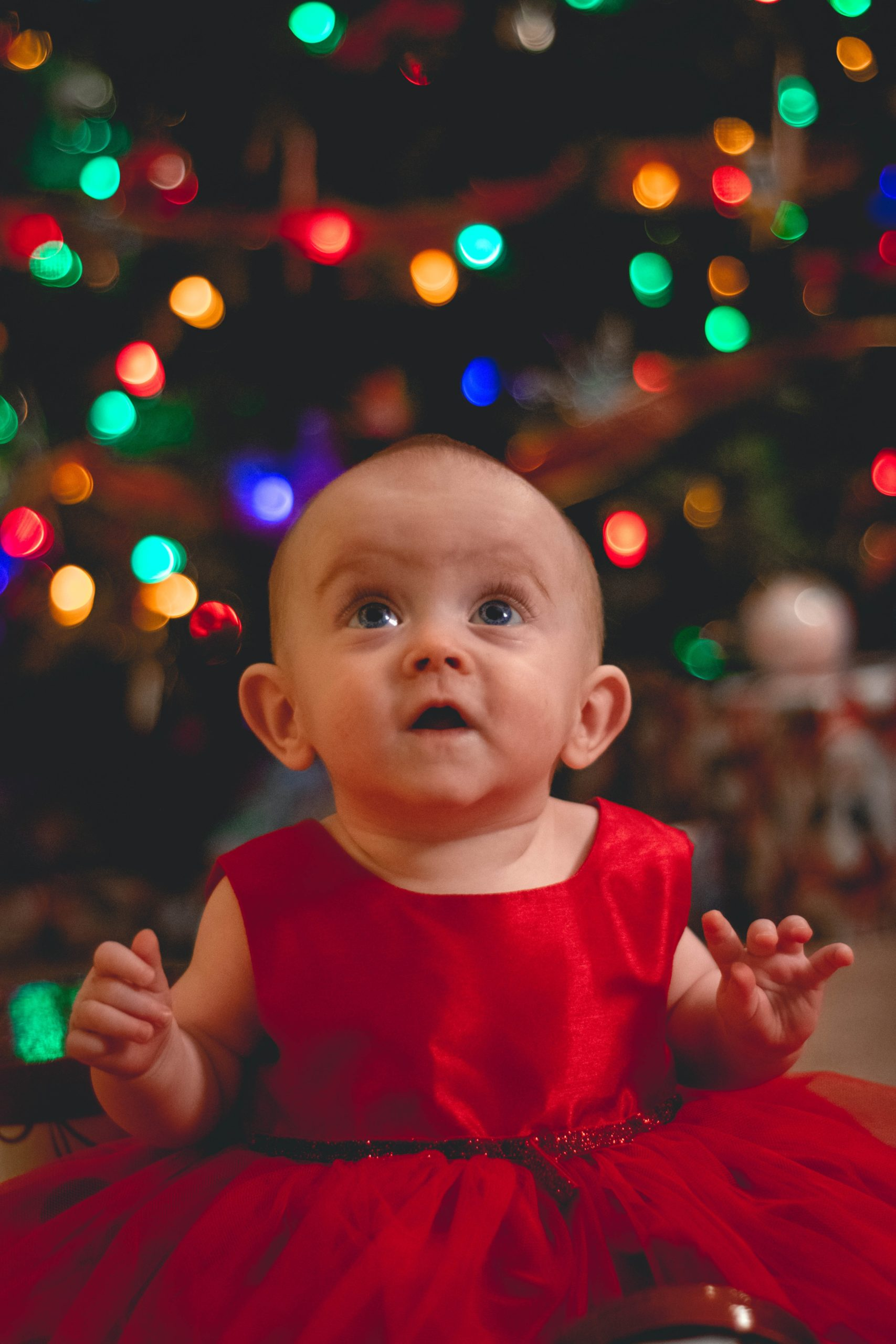 Christmas activities: a baby in a red dress looks up, with a blurry christmas tree in the background