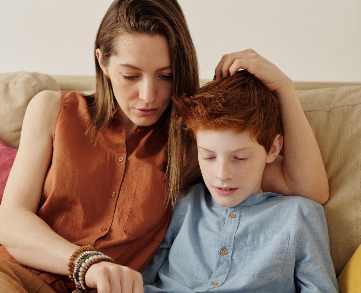Covid testing mum explains to son