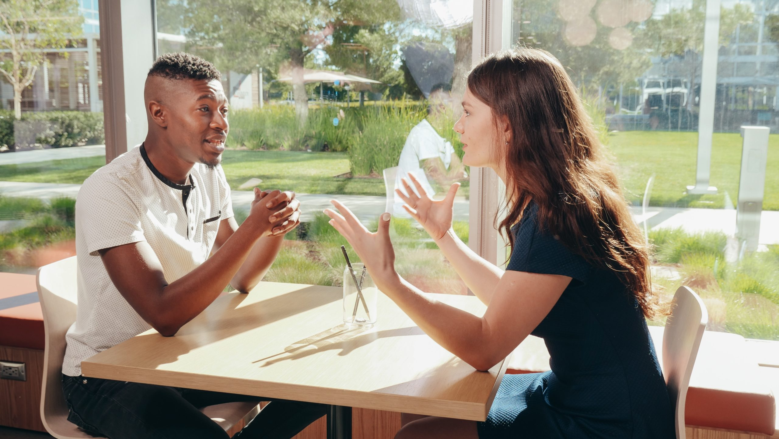 Couple discussing child contact arrangements