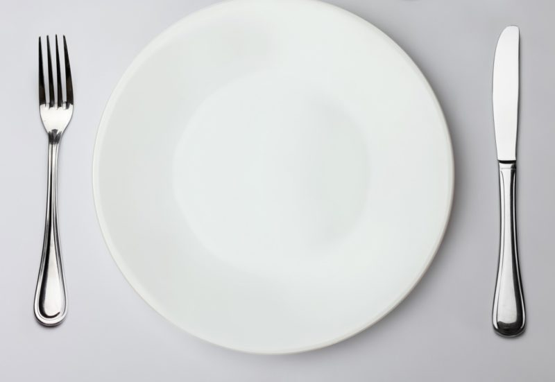 A plate and cutlery set for eating