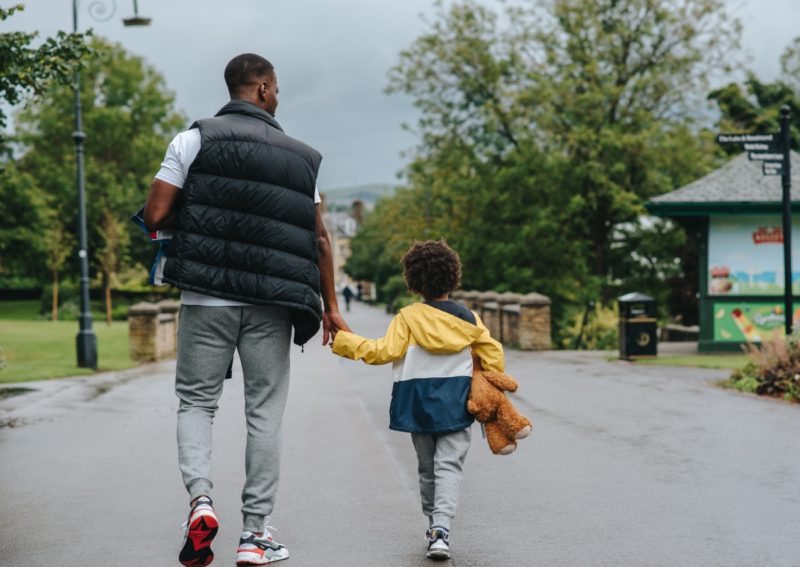 separation anxiety child walks down road with dad