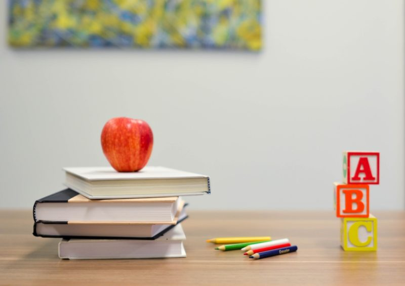 School anxiety - apple and books on a desk